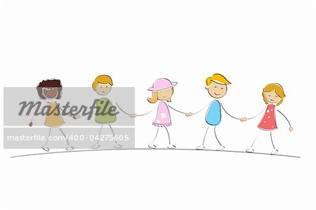 illustration of multi racial kids holding hands on isolated background Stock Photo - Budget Royalty-Free, Image code: 400-04275605