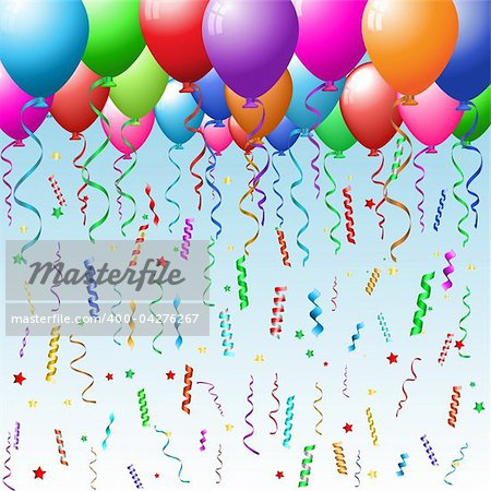 Party background with balloons, confetti and streamers