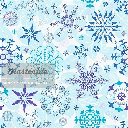 Seamless blue and violet and white christmas wallpaper (vector)