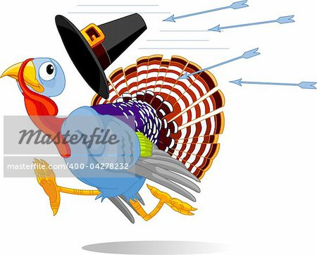 Cartoon turkey escapes from the arrows and loses his hat Stock Photo - Budget Royalty-Free, Image code: 400-04278232