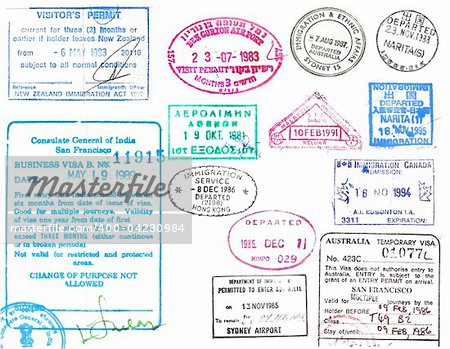 Passport stamps and visas from several countries on a white background Stock Photo - Budget Royalty-Free, Image code: 400-04280984