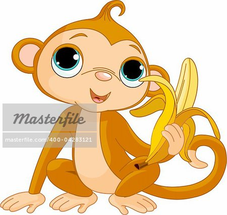Illustration of funny Monkey with banana Stock Photo - Budget Royalty-Free, Image code: 400-04283121