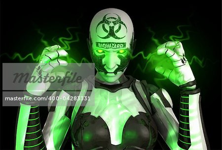 3d illustration of a advanced Bio warfare cyborg soldier Stock Photo - Budget Royalty-Free, Image code: 400-04283331
