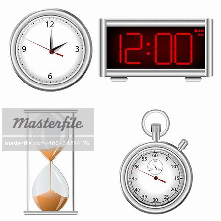 Set of time measurement instruments icons Stock Photo - Budget Royalty-Free, Image code: 400-04284176