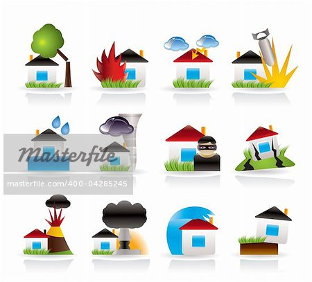 home and house insurance and risk icons - vector icon set Stock Photo - Budget Royalty-Free, Image code: 400-04285245