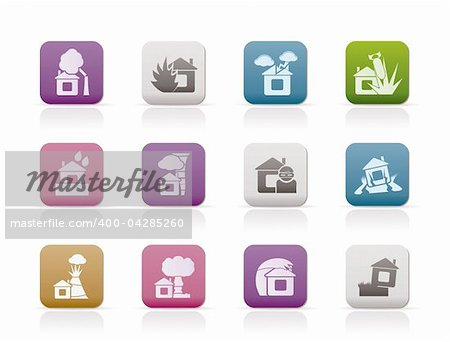 home and house insurance and risk icons - vector icon set Stock Photo - Budget Royalty-Free, Image code: 400-04285260