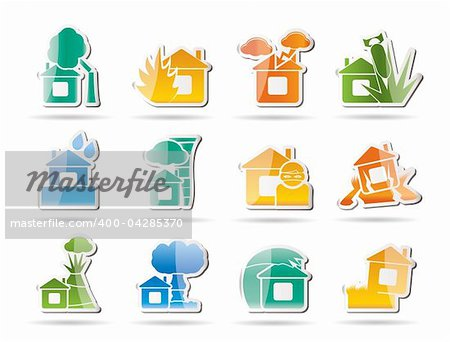 home and house insurance and risk icons - vector icon set Stock Photo - Budget Royalty-Free, Image code: 400-04285370