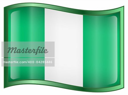 Nigeria Flag Icon, isolated on white background. Stock Photo - Budget Royalty-Free, Image code: 400-04285446