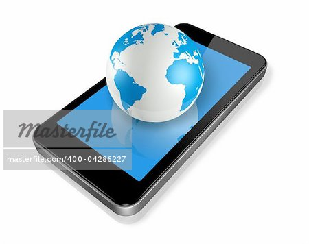 three dimensional mobile phone and world globe isolated on white whith clipping path