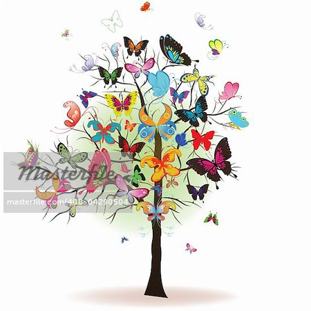 Floral tree with butterfly, element for design, vector illustration