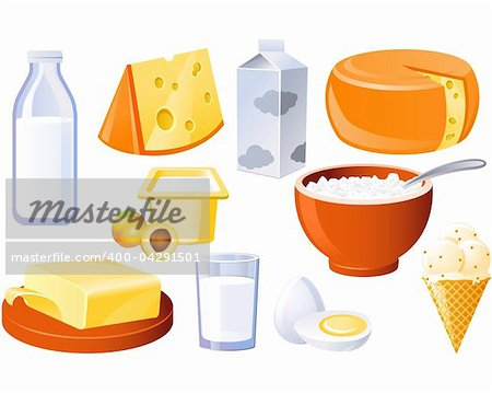 Dairy and poultry products, milk, butter and cheese Stock Photo - Royalty-Free, Artist: lazarev, Code: 400-04291501