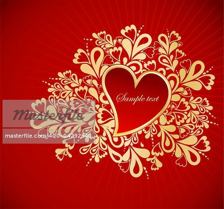 Heart to the St.Valentine on a red background Stock Photo - Budget Royalty-Free, Image code: 400-04292840