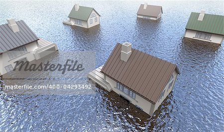 Flooded homes. 3D image Stock Photo - Budget Royalty-Free, Image code: 400-04293492