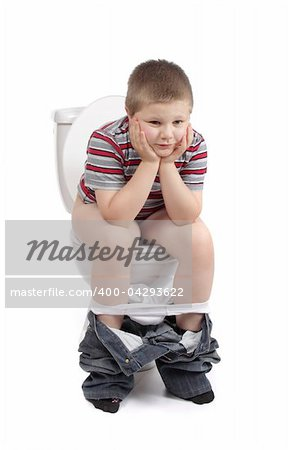 Little boy is sitting on the toilet Stock Photo - Budget Royalty-Free, Image code: 400-04293622