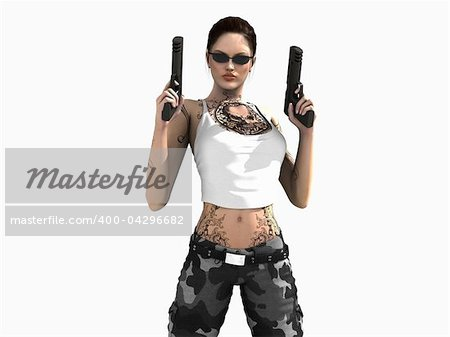 3d illustration of a soldier girl holding two guns Stock Photo - Budget Royalty-Free, Image code: 400-04296682