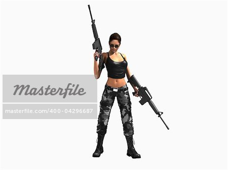 3d illustration of a soldier girl holding two guns Stock Photo - Budget Royalty-Free, Image code: 400-04296687