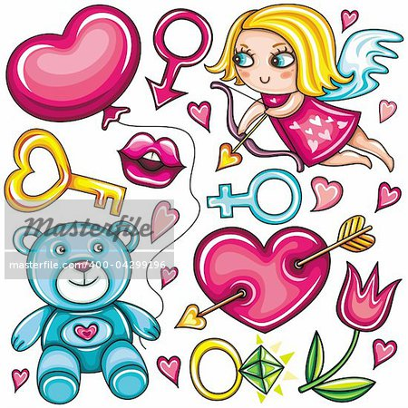 Decorative valentine elements:cute cupid shooting arrow, key to the heart,  teddybear, heart with arrow through,   female and male gender signs, diamond ring, tulip flower, hot kiss, heart shaped balloon.