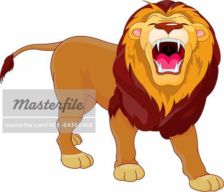 Fully editable  illustration of a roaring cartoon Lion Stock Photo - Budget Royalty-Free, Image code: 400-04300468