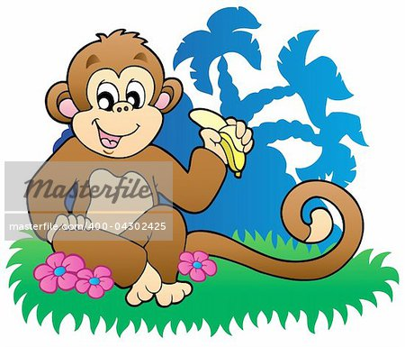 Monkey eating banana near palms - vector illustration. Stock Photo - Budget Royalty-Free, Image code: 400-04302425