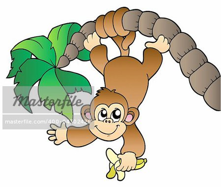 Monkey hanging on palm tree - vector illustration. Stock Photo - Budget Royalty-Free, Image code: 400-04302426