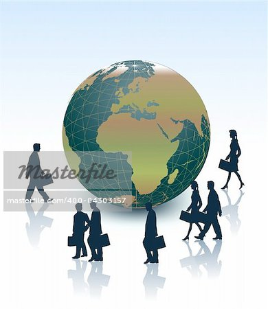 People and a large earth globe conceptual business illustration. Stock Photo - Budget Royalty-Free, Image code: 400-04303157