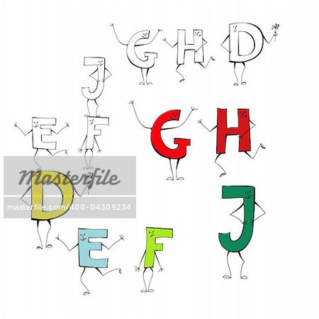 Set of cartoon style letters E, F, J, G, H, D Stock Photo - Budget Royalty-Free, Image code: 400-04309234