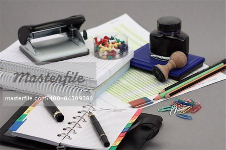 Office stationery over gray background Stock Photo - Budget Royalty-Free, Image code: 400-04309380