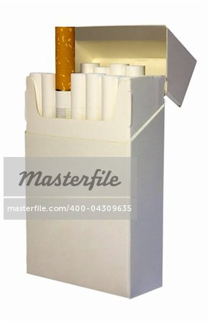 White pack of cigarettes isolated on white Stock Photo - Budget Royalty-Free, Image code: 400-04309635
