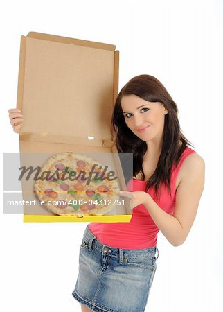 Pretty young casual girl with tasty pizza in delivery paper box. isolated on white background Stock Photo - Budget Royalty-Free, Image code: 400-04312751