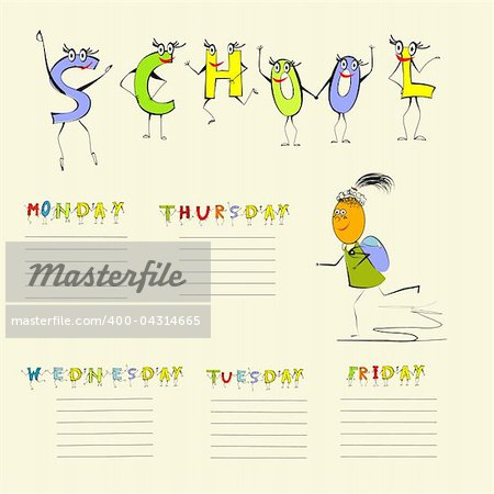 Template for school schedule Stock Photo - Budget Royalty-Free, Image code: 400-04314665