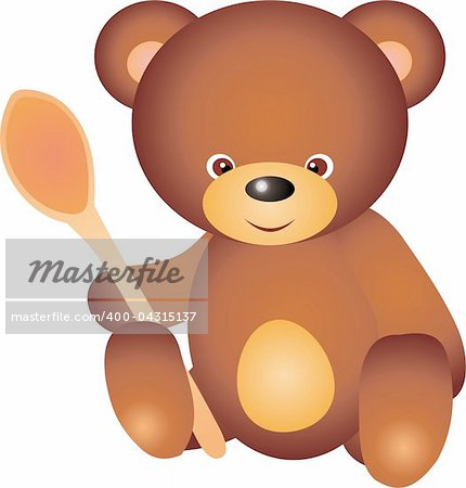 teddy bear with spoon. Isolated on white background. Vector