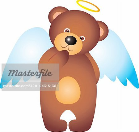 teddy bear Angel isolated on white background. Vector