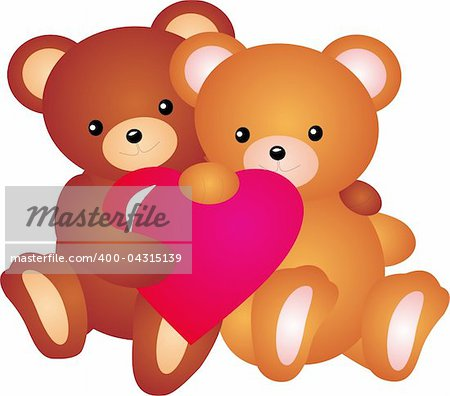 teddy bear with Heart. Isolated on white background. Vector