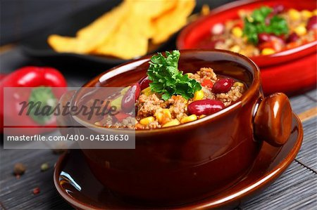 Bowl of chili with peppers and beans Stock Photo - Budget Royalty-Free, Image code: 400-04318630