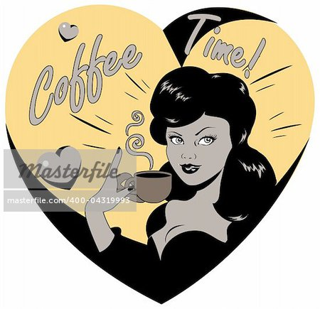 Coffee Lover vector poster with woman and cup of coffee in hand, Coffee time logo heart icon.One of fashion pinup illustrations Stock Photo - Budget Royalty-Free, Image code: 400-04319993