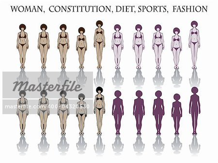woman, constitution, diet, sports, fashion. silhouette Stock Photo - Budget Royalty-Free, Image code: 400-04320530