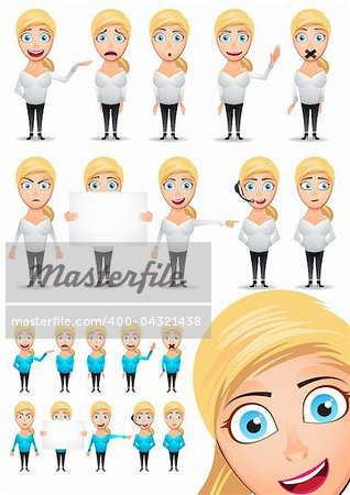 Cute Vector Character Girl Set. With lots of different emotions including happy, sad, angry and surprised. Includes alternative coloured top set. Grouped for easy management. Stock Photo - Budget Royalty-Free, Image code: 400-04321438