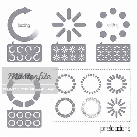 Web 2.0 Vector Progress Loader Icons. A collection of vector internet progress loader icons Stock Photo - Budget Royalty-Free, Image code: 400-04321443