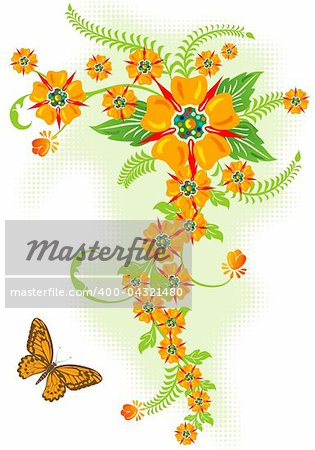 Decorative Floral border with butterfly, vector illustration