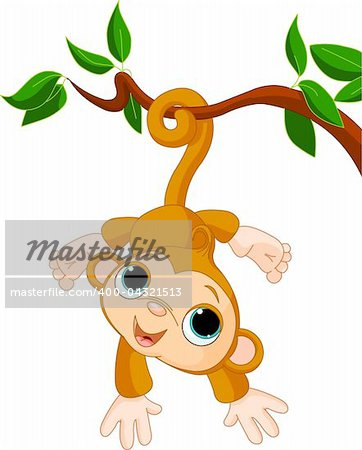 Illustration of Cute baby monkey on a tree Stock Photo - Budget Royalty-Free, Image code: 400-04321513