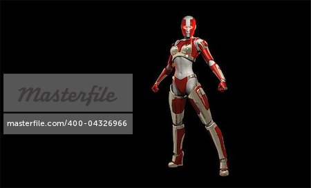 Quality 3d illustration of a futuristic cyborg soldier Stock Photo - Budget Royalty-Free, Image code: 400-04326966