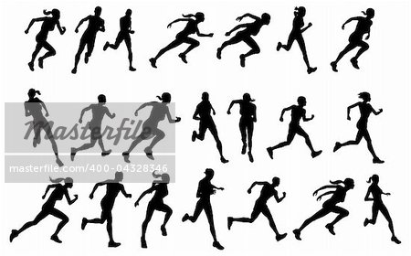 Set of silhouettes of athletic looking male and female runners running