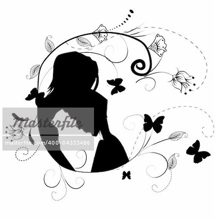 silhouette of couples man and woman on flowers background Stock Photo - Budget Royalty-Free, Image code: 400-04333486