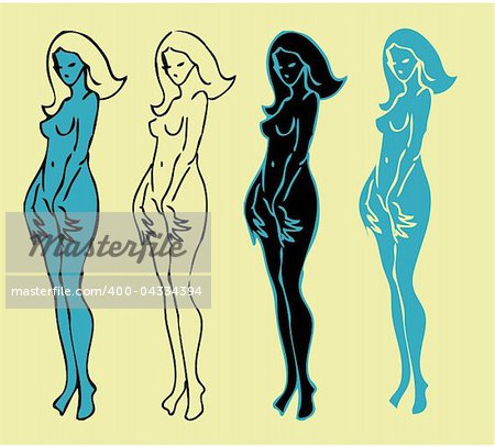 4 emblems variations of beautiful nude woman silhouette Stock Photo - Budget Royalty-Free, Image code: 400-04334394