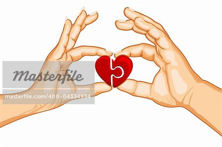 illustration of male and female handing joining puzzle pieces of heart on isolated background Stock Photo - Budget Royalty-Free, Image code: 400-04334934