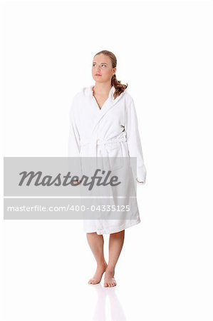 Full portrait of young beautiful woman wearing bathrobe, isolated on white Stock Photo - Budget Royalty-Free, Image code: 400-04335125