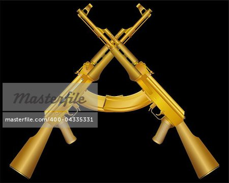 Vector illustration of two gold ak on black Stock Photo - Budget Royalty-Free, Image code: 400-04335331