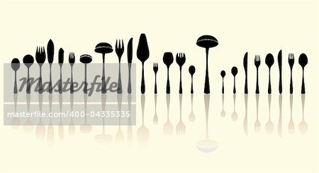 silverware black and white silhouettes Stock Photo - Budget Royalty-Free, Image code: 400-04335335