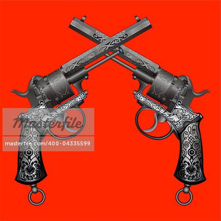two old guns with ornament on red background Stock Photo - Budget Royalty-Free, Image code: 400-04335599