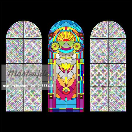 Stained glass church window on black Stock Photo - Budget Royalty-Free, Image code: 400-04335615